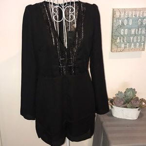 Lucca Joanna Lace Accent Romper w/Pockets